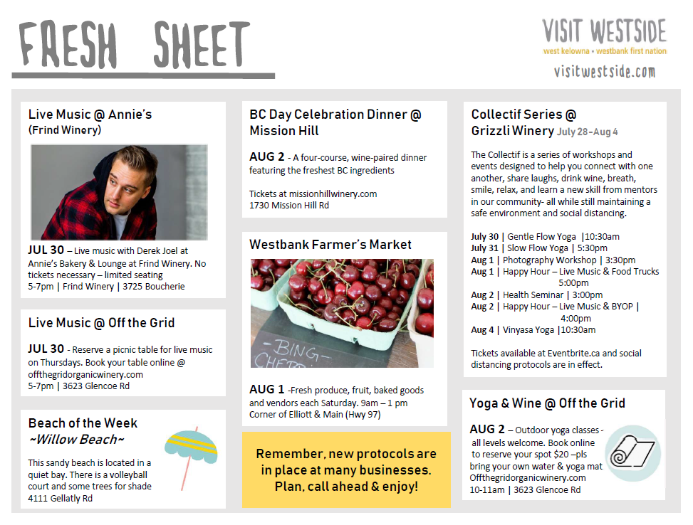 Fresh Sheet – July 28 – Aug 4   What's Happening In Wk