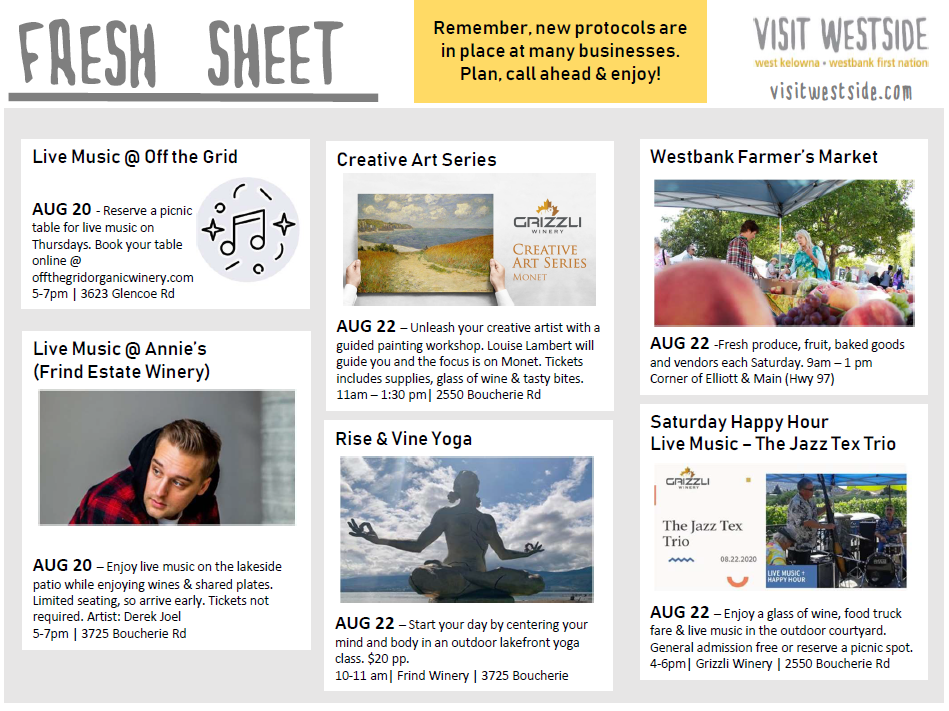 Fresh Sheet | Aug 19 – 25 | What's Happening In Wk