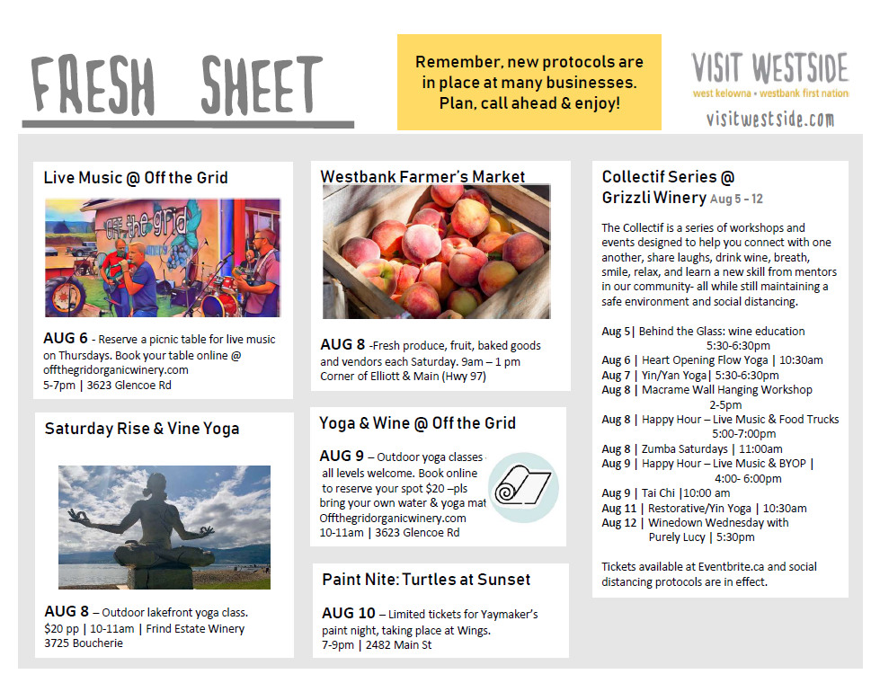 Fresh Sheet – Aug 5 – 12   What's Happening In Wk